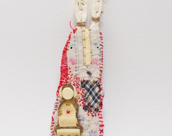 BROOCH or Pin - hand stitched long eared bunny prim 'Little Folk' character