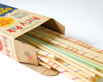 Vintage Sweetheart Drinking Straws • Paper Straws Striped • Vintage Straw Box