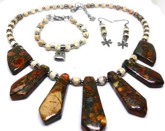 Sea Sediment Pyrite Focal Bead Necklace with White Turquoise & 316L Stainless Steel Beads-Set includes Earrings and Bracelet, Mother's Day
