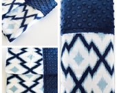 BLUE IKAT / Baby Blankets, Burp Cloths and Boppy Slipcovers/ Blue cotton  print with Plush minky dimples  / Baby Shower gifts