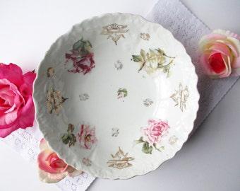 Vintage Serving Bowl Pink Rose Porcelain - Cottage Chic