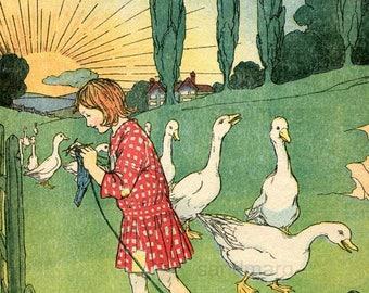 Storybook Illustration Goose Girl Knitting Ruth Cobb Vintage 1920's