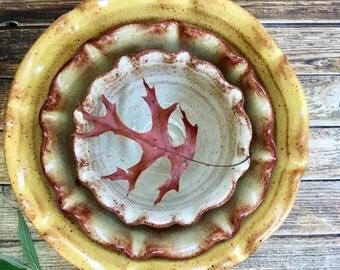 Large Ceramic Nesting Bowl Set - Stoneware Mixing Bowls - Handmade Pottery Nested Bowls - Hostess Gift - Fluted Stoneware Bowl Set - For Her