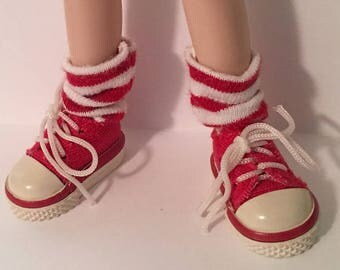 Short Red And White Striped Socks For Blythe...