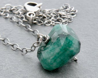 Raw Emerald Necklace, May Birthstone, Rough Stone Emerald, Sterling Silver, Layering Necklace #4731