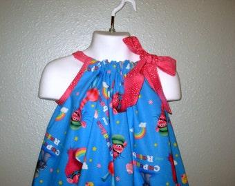 Dreamworks Blue Trolls girls Pillowcase dress, Poppy Troll, 6M to size 7