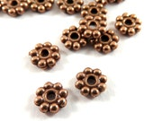 50 Daisy Spacers Antique Red Copper Flower Disk Beads 5x1.5mm 1mm hole - 50 pc - M7073-AC50