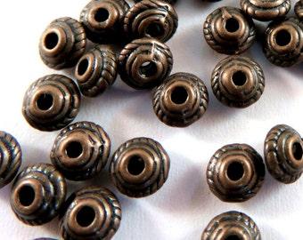 25 Antique Copper Spacer Tibetan Silver Saucer Bead 5mm Round LF/NF/CF - 25 pc - M7043-AC25