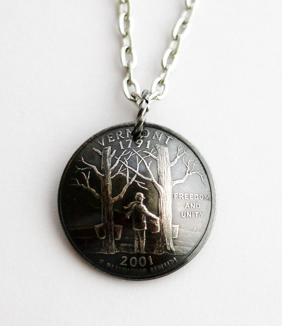 domed coin necklace vermont state quarter pendant u s