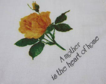 Vintage Hankie Vintage Hanky A Mother is the Heart of the Home Printed on Handkerchief Yellow Rose Lace Trim