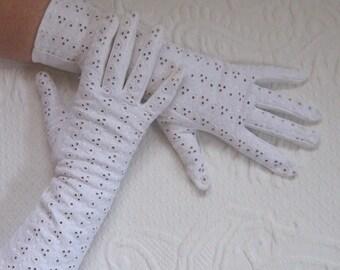 white gloves. wedding gloves . long white gloves . eyelet gloves