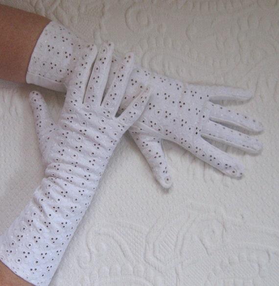 white gloves. wedding gloves . long white gloves . eyelet