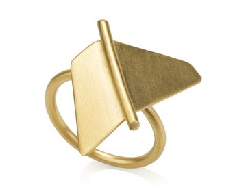 SALE 30% OFF Ellen Ring, Gold Statement Ring, Gold Triangle Ring, Geometric Gold Ring, Minimalist Gold Ring, Gold Cocktail Ring, contour
