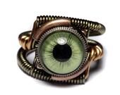 HAPPY HOLIDAYS SALE - Steampunk Jewelry - Eyeball ring - Green taxidermy glass Eye