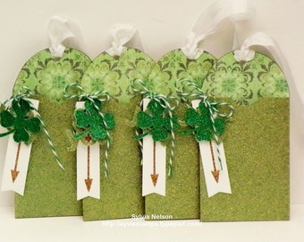On SALE Now...Shamrock 4 Gift Card Holder Tags..Green Glitter card stock gift tags...Friends...Birthdays...Engagements & Weddings..Handmade!