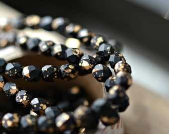 NEW! Glamour Queen - Premium Czech Glass Beads, Matte Opaque Jet Black, Metallic Gold, Firepolish Facet Rounds 4mm - Pc 30
