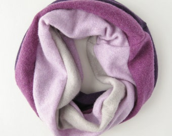 Cashmere Cowl. 100 Percent Cashmere Circle Scarf. Purple Ombre Cashmere Scarf. Infinity Loop. Neckwarmer. Woman's Winter Scarf