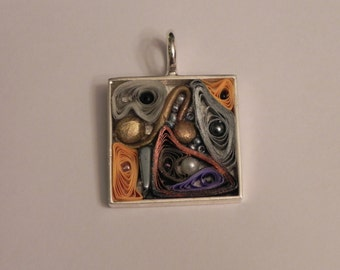 Abstract Silver, Grey, Gold and Copper toned Square Silver Pendant