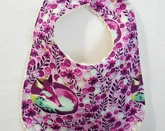 Modern Designer Baby Bib Purple Foxes Tula Pink Fabric