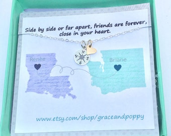Long Distance Friendship Necklace | Pick your state | Going away | BFF Gift | Graduation Gift | State to State| compass