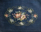 Vintage Needlepoint Seat Pillow Cover Wallhanging Navy Blue Floral