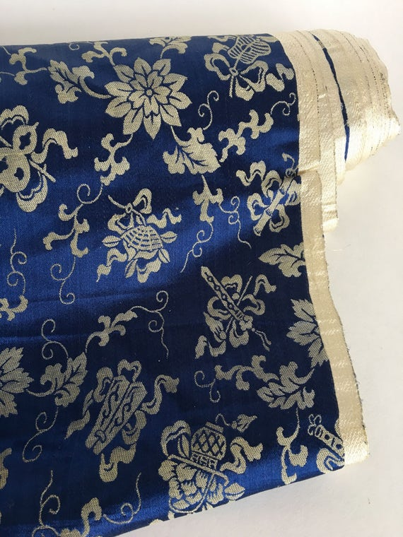 "Vintage Blue and Ivory Floral Damask Satin Fabric 6 1/2 yds x 30"""