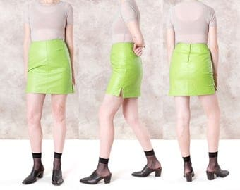 LEATHER MINI SKIRT lime green Colorful women skirts Vintage 90s 80s Neon Size 8 / better stay together