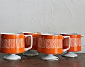 Mid century mugs, footed mugs, vintage pedestal mugs, retro mugs