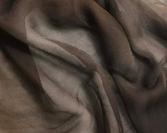 Silk Gauze Chiffon - Hand Dyed Mahogany Brown - 1/2 Yard