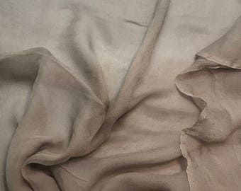 Silk Gauze Chiffon - Hand Dyed Taupe Brown - 1/2 Yard