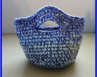 Clearance Sale Catch All Basket Bag with Handles Shades of Blue