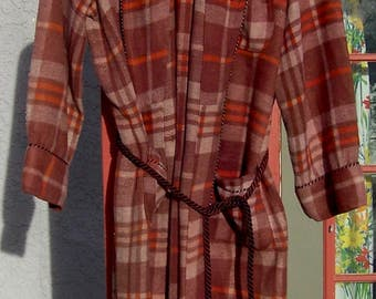 Vintage BEACON BLANKET Robe Red Brown Plaid