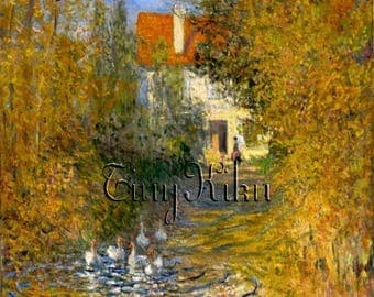 Signed MONET DUCK SCENE in Giverny France - Choose: Waterslide Decals - Fabric Blocks - Iron-On Transfers - Art Prints  (Size Options)