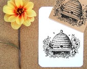 Bee Hive Rubber Stamp // Bee Skep Rubber Stamp // Honey Label Rubber Stamp -  Handmade by BlossomStamps