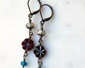 On Sale Bohemian Floral Earrings / Blue and Red Dangle Earrings / Czech Glass Bead Drop Earrings / Boho Chic Jewelry / Red Flowers / Casual