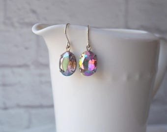 Purple Rhinestone Earrings / Vintage Rhinestone Jewels / Purple Amethyst AB Mirror Finish / Vintage Jewel Sterling Silver / Feminine Sparkle
