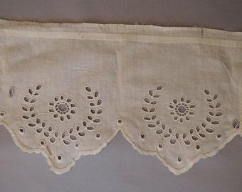 2-7/8 yards Antique Lace Trim Vintage Embroidered Eyelet Cotton, Victorian Petticoat Dress Trim