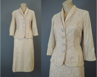 Vintage 1950s Lace Suit, 36 Bust, 26 waist, Pale Peach Lace Rhinestone Buttons wedding, party, some issues