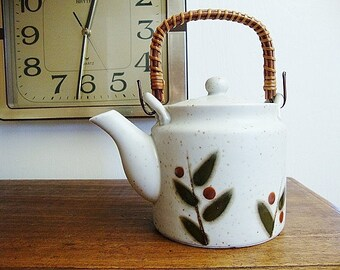 vintage teapot japanese Otagiri bittersweet reed handle