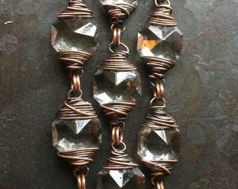 Crystal Bracelet Copper Bracelet Wire Wrapped Bracelet Wedding Jewelry Rustic Jewelry DanielleRoseBean Wrapped Bracelet Bridal Bracelet