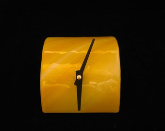 Fused Glass Desk Clock, Tube Desk Clock, Yellow Clock, Shelf Clock, Glass Clock, Modern Desk Clock