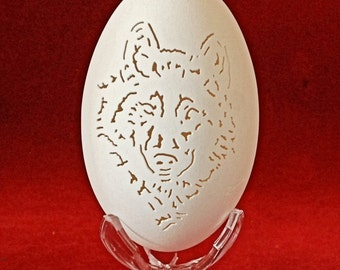 Hand Carved Goose Egg - Grey Wolf