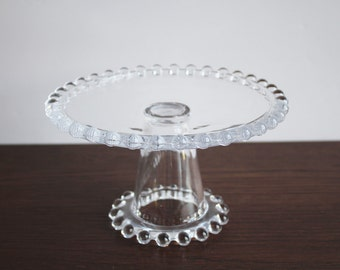 vintage candlewick clear glass cake plate, pedestal