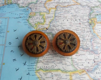 SALE! 2 Art Nouveau round brass + metal cup knobs w/ tortoiseshell-amber backing