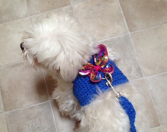 XS Crochet Harness-Vest + Leash to Match-Chihuahua Clothes-Small Dog-Yorkie-Maltese-Poodle