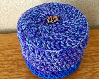 Blue Toilet Paper Cover Crochet with white Button accent