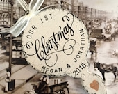 OUR 1ST CHRISTMAS ORNAMENT, Personalized Wedding Ornament, Wood Christmas Ornaments, 3 1/2 x 5 3/4