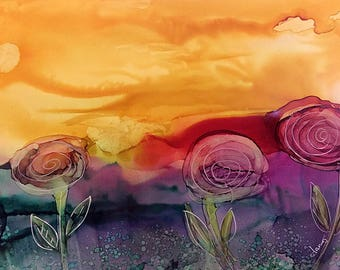 3 For Spring Original 5x7 Alcohol Ink Painting on Yupo