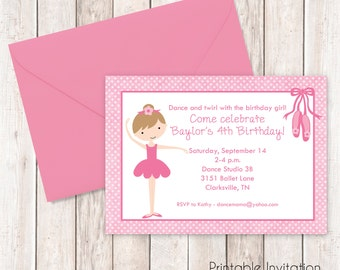 Little Ballerina Invitation, Printable Invitation Design, Custom Wording, JPEG File