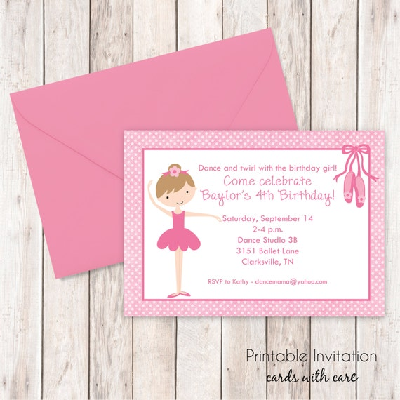 Little Ballerina Invitation, Printable Invitation Design, Custom Wording, JPEG File